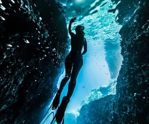 beautiful, cave, and diver image