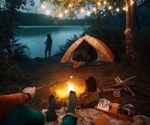 camping, forest, and light image