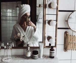 girl, bathroom, and beauty image
