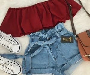 outfit, red, and clothes image