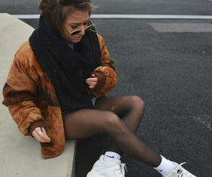 autumn, chunky sneakers, and black scarf image