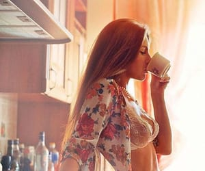 sexy, woman, and coffee image