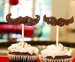 cupcake, chocolate, and mustache image