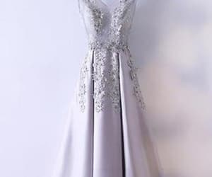 long prom dresses, silver prom dresses, and a-line prom dresses image