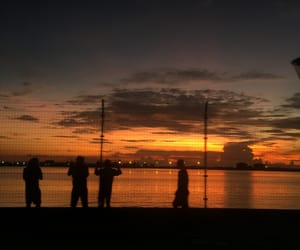 people, sky, and sunset image