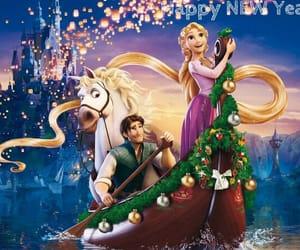 rapunzel, año nuevo, and flynn rider image