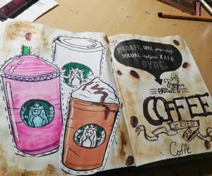 art, journal, and coffee image