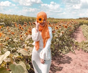 fashion, flowers, and hijab image