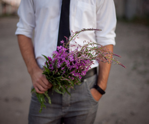 flowers, boy, and man image