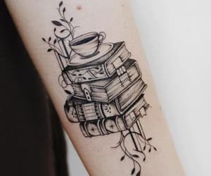 book, tattoo, and coffee image