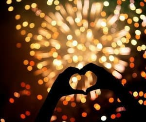 fireworks, heart, and light image