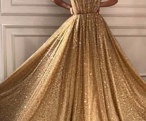 dress, gold, and fashion image