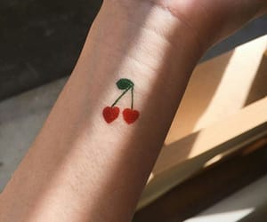 cherry, tattoo, and red image