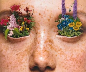 alternative, face, and flowers image