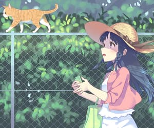 anime, cat, and tree image