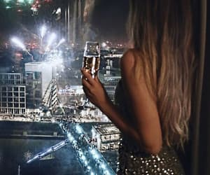 fireworks, new year, and champagne image