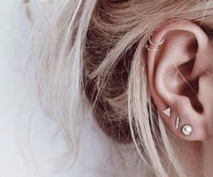 piercing, earrings, and hair image