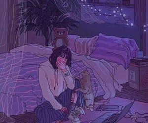 girl, sad, and cat image
