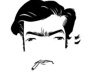 black and white, draw, and julio cortazar image