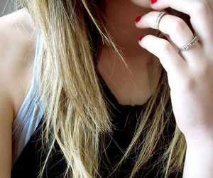 girl, ring, and hair image