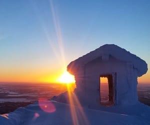 finland, sunset, and season winter image