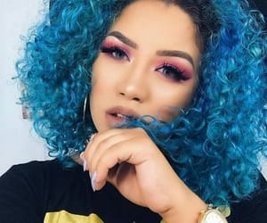 black, blue hair, and curly image