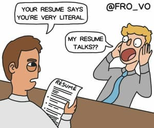 comic, resume, and talk image