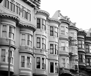 black and white, Houses, and san fran image