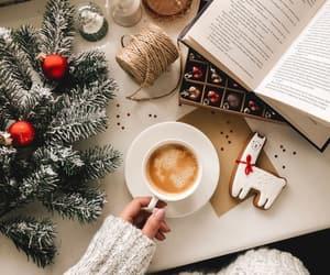 coffee, book, and christmas image