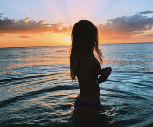 girl, ocean, and sunset image