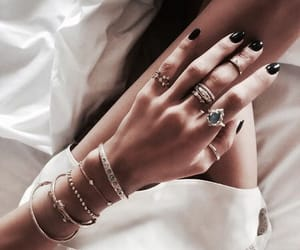 black, bracelets, and chic image