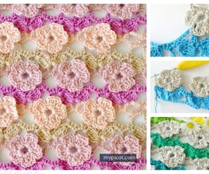 blanket, crochet, and flower stitch image