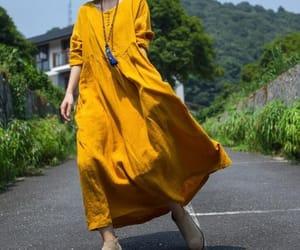 etsy, yellow dress, and linen dress image