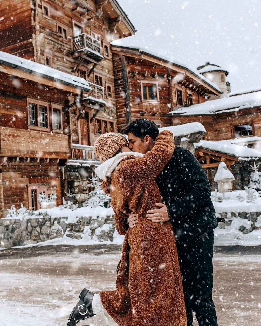 couple, snow, and fashion image