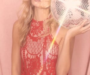 blonde, chic, and disco ball image