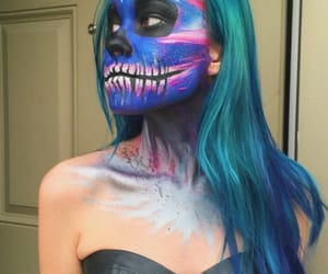 blue hair, skull, and bluehair image