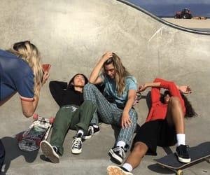 chicks, skateboard, and friendship image