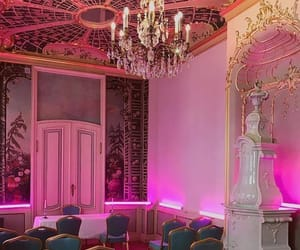 chandelier, hot pink, and hotel image