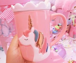 pastel, pink, and unicorn image