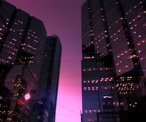 city, pink, and light image