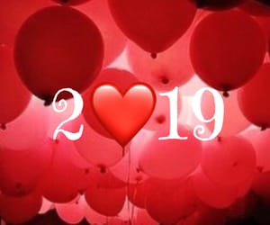 new year, red balloons, and red heart image