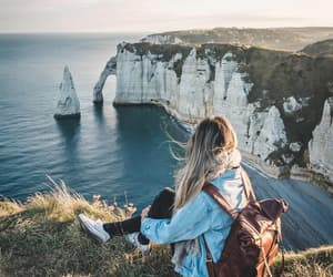 girl, mountains, and ocean image