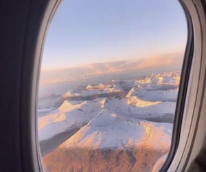 mountains, airplane, and snow image