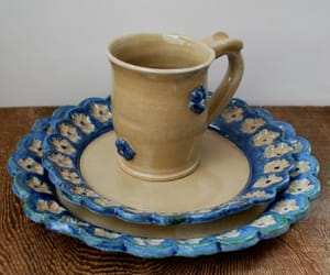 blue, cream, and pottery image