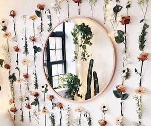 room, room decor, and flower wall image
