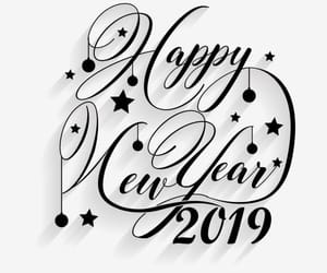 happy new year, 2019, and black and white image