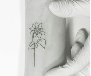 black and white, ink, and flowers image