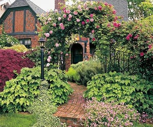 brickwork, cottage, and flowers image