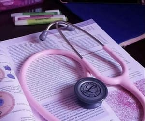 book, pink, and stethoscope image