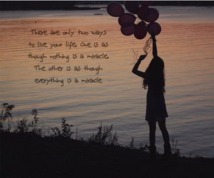 balloons, girl, and text image